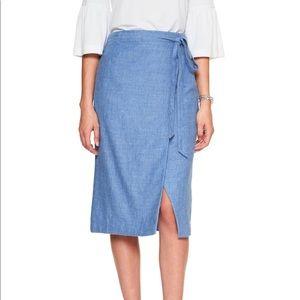 Banana Republic • Blue Linen Wrap A-Line Skirt
